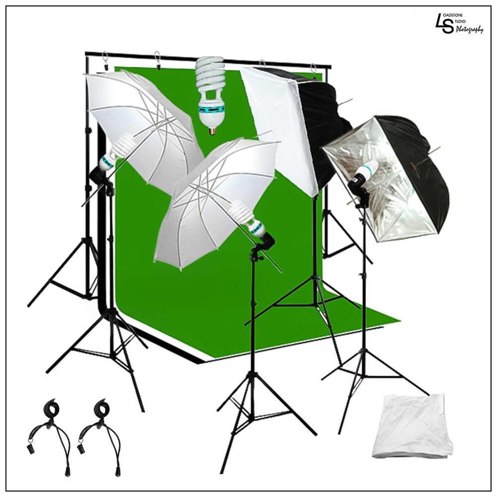 Photography and Video Lighting Kit with Green, Black, White Muslin Background and Softbox/Umbrellas by Loadstone Studio WMLS0902