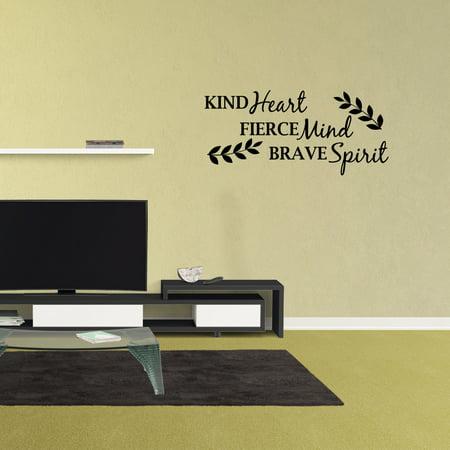 Wall Decal Quote Kind Heart Fierce Mind Brave Spirit Vinyl Sticker Lettering Design Nursery XJ326