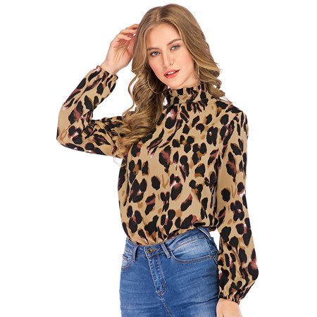 Women Leopard Print Blouse Shirts Ruffles Turtleneck Autumn Long Sleeves Vintage Casual Tops Ruffle Print Tee