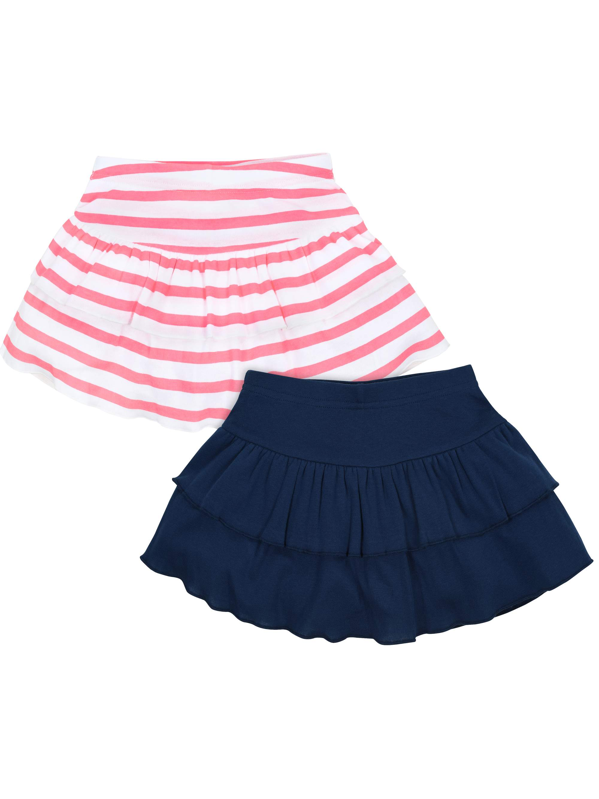 Pink Stripe & Navy Skorts, 2-pack (Baby Girls & Toddler Girls)