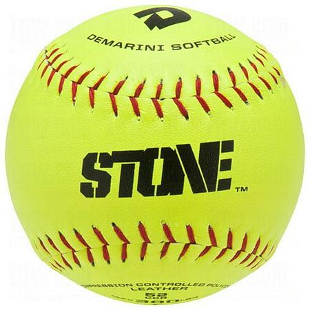 DeMarini Stone ASA Series Leather Softball (12-Pack), 12-Inch, Optic Yellow 12' Optic Yellow Leather