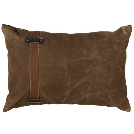 CBK Antique Green Canvas Lumbar Pillow With Side Strap And Faux Leather 159813