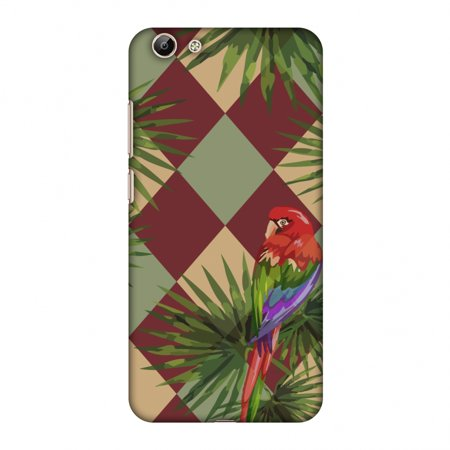 Vivo Y69 Case - Parrot and Palm - Red and Pale Green, Hard Plastic Back  Cover, Slim Profile Cute Printed Designer Snap on Case with Screen Cleaning