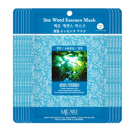 Pack of 35, The Elixir Beauty Korean Beauty Collagen Premium Essence Full Face Facial Mask Sheet Pack Sea Weed Essence