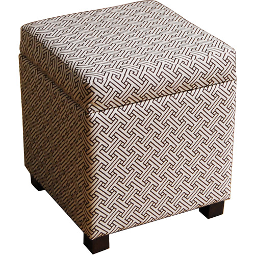 Cube Ottoman, Brown and Cream