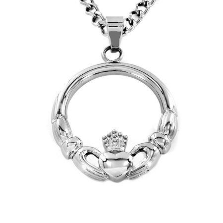 Stainless Steel 'Claddagh' Circle Pendant Necklace