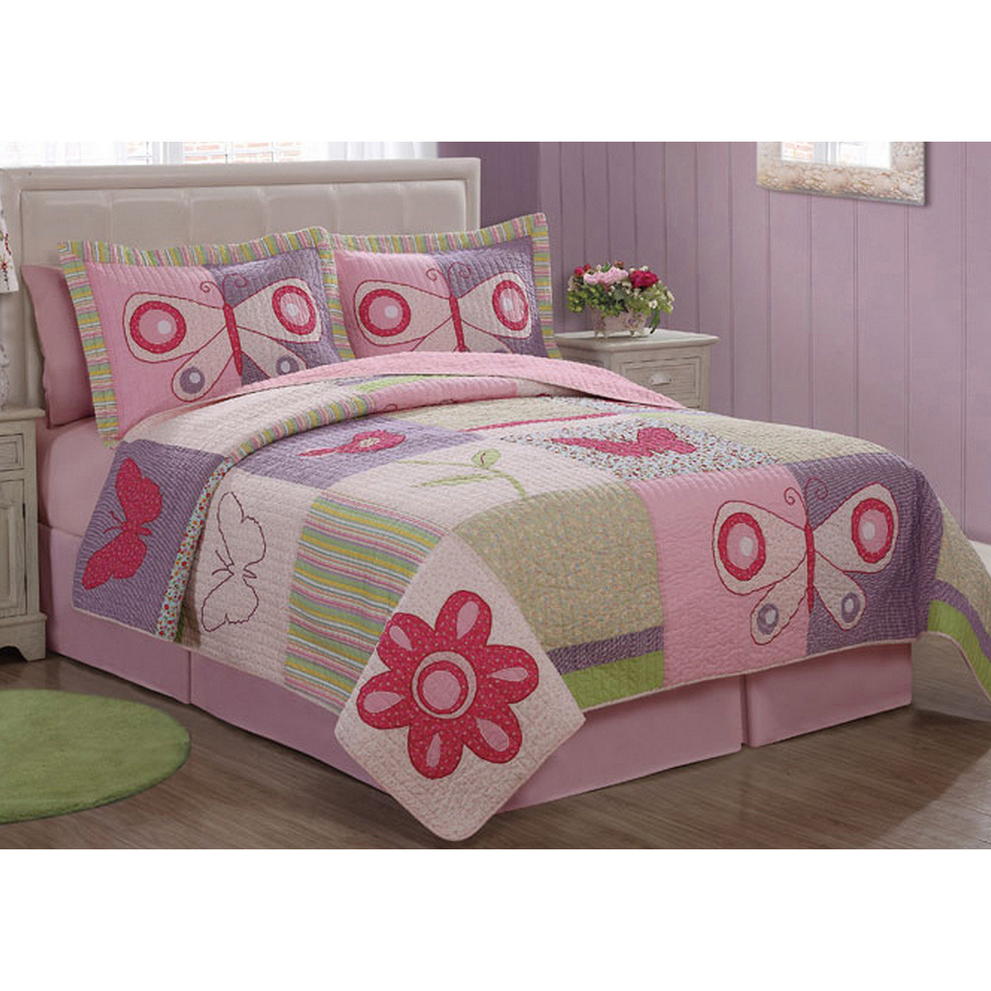 Pink Butterfly Flower Bedding Quilt Set