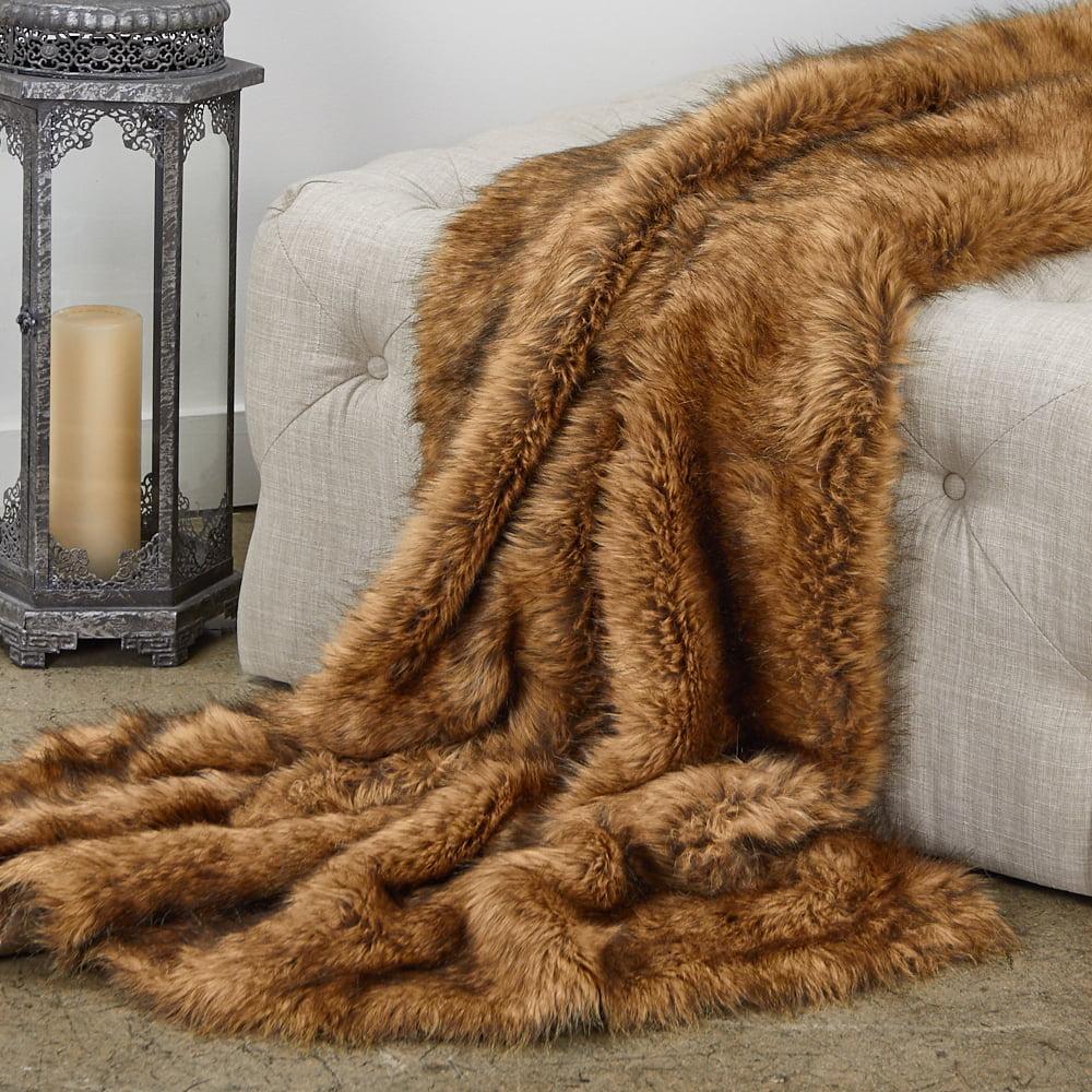 Plutus Tip Dyed Fox Faux Fur Luxury Throw