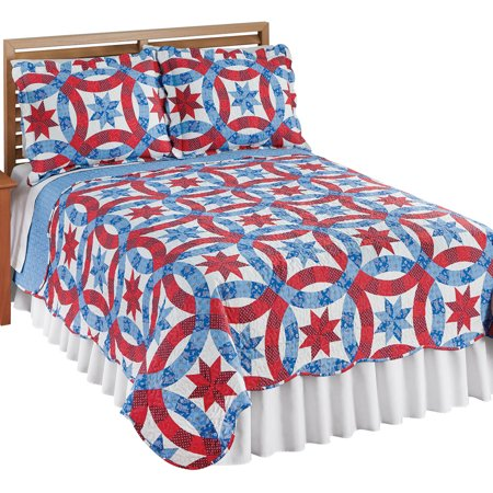 Americana Star Wedding Ring Pattern Quilt With Scalloped