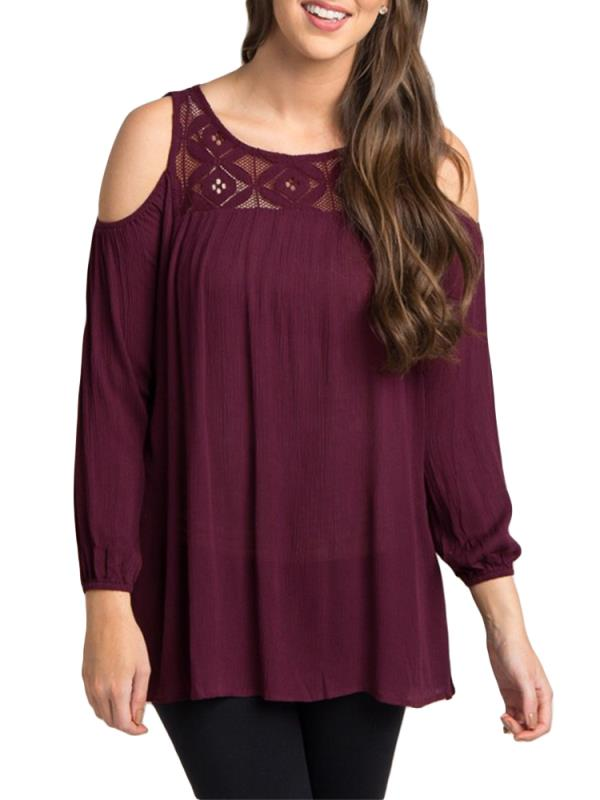 Maternity Tops Loose Plum Crochet Cold Shoulder Long Sleeve For Women