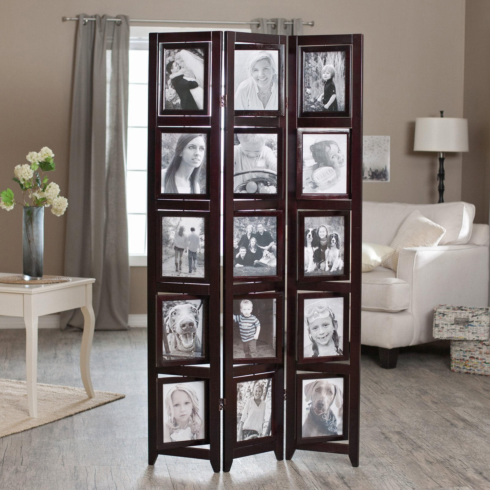 Memories Double Sided Photo Frame Room Divider - Rosewood 3 Panel ...