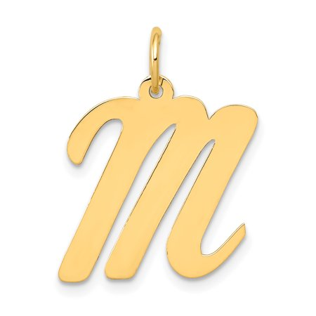 Large Script Initial Letter (14k Yellow Gold Large Script Initial Monogram Name Letter M Pendant Charm Necklace Gifts For Women For)