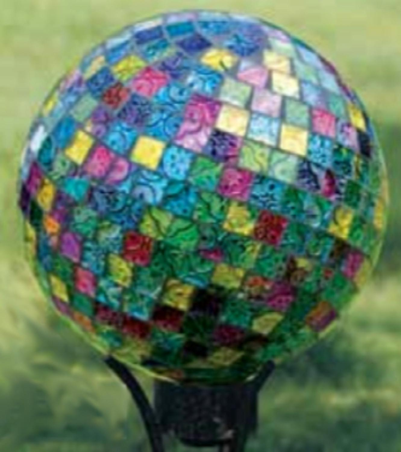 "10"" Vibrant Jewel Tone Art Glass Mosaic Outdoor Patio Garden Gazing Ball by CC Outdoor Living"