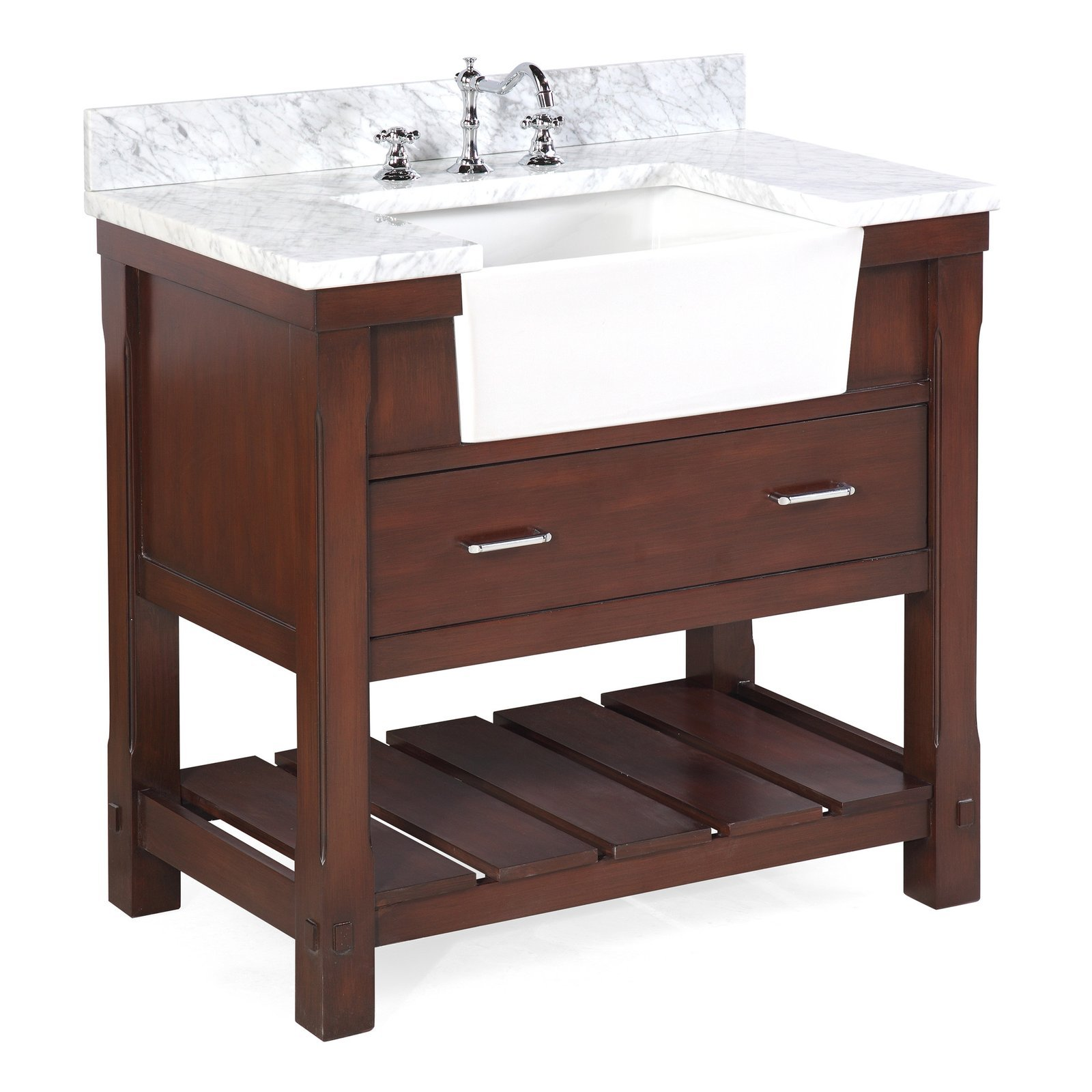 "Charlotte 36"" Chocolate Farmhouse Bathroom Vanity with ..."