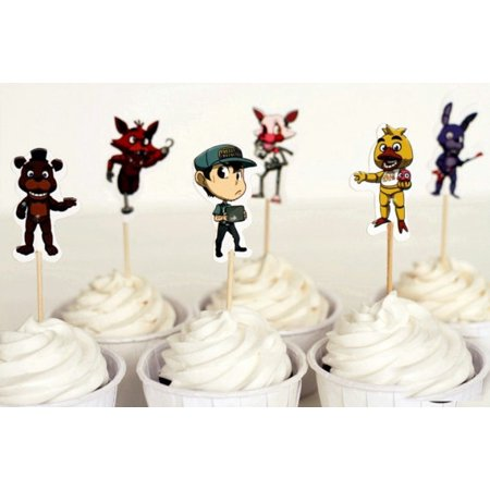 24 Five Nights At Freddys Picks Pics Cupcake Cake Birthday Party Favors Toppers - Spiderman Cupcake Topper