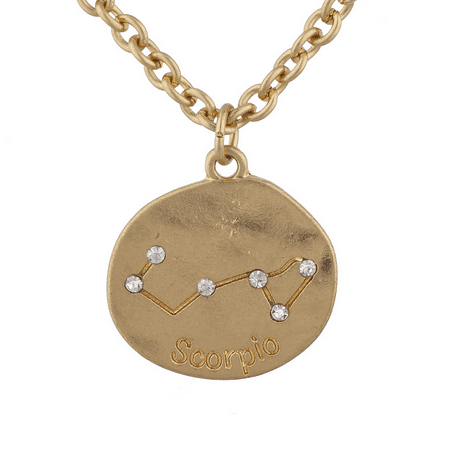 Lux Accessories Goldtone Crystal Scorpio Zodiac Constellation Horoscope Necklace