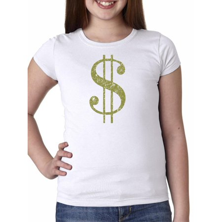 Large Dollar Money Sign Symbol - Cool Graphic Girl's Cotton Youth T-Shirt ()