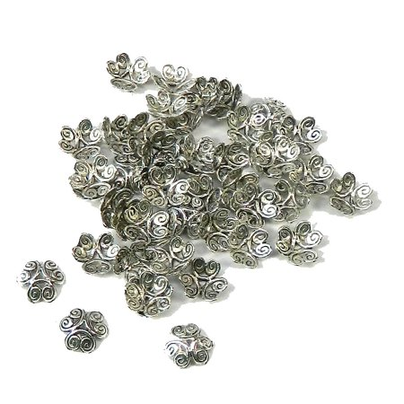 Rockin, Loose Beads, Brand, 48 Antiqued Silver Plated Zinc Bead Caps 12mm (1mm Hole) for $<!---->