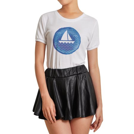 Watercolor Nautical Logo With A Sailboat Printed 100  Cotton T  Shirt Wts 07 2Xl