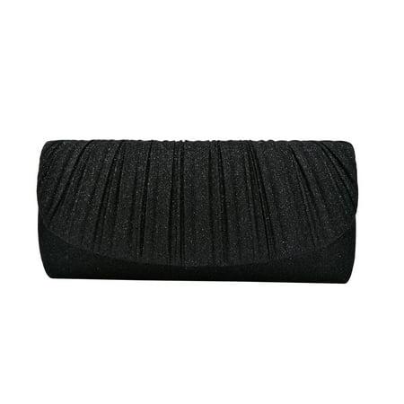 Metallic Leather Flap Clutch - Premium Pleated Metallic Glitter Flap Clutch Evening Bag Handbag