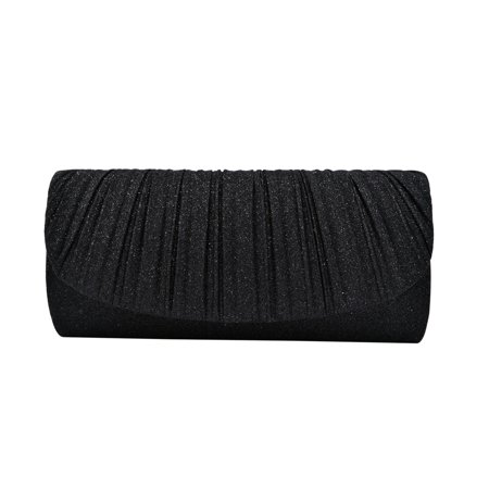 Premium Pleated Metallic Glitter Flap Clutch Evening Bag