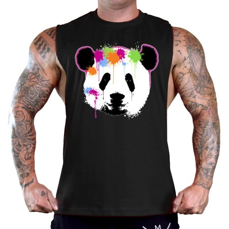 Men's Panda Paintball Dripping Sleeveless Black T-Shirt Gym Tank Top Medium Black