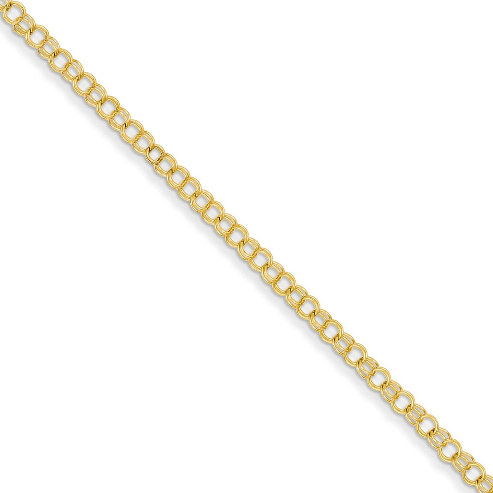14k Yellow Gold 7in 3.5mm Solid Double Link Charm Bracelet