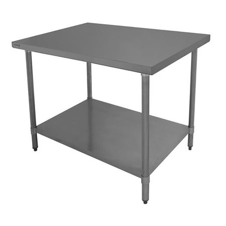 """ACE WT-EE3012 Economy Flat Top Work Table with Stainless Steel Top, 1 Galvanized Undershelf & Adjustable Bullet Feet, 30""""W x 12""""L x 35""""H, ETL Certified"""