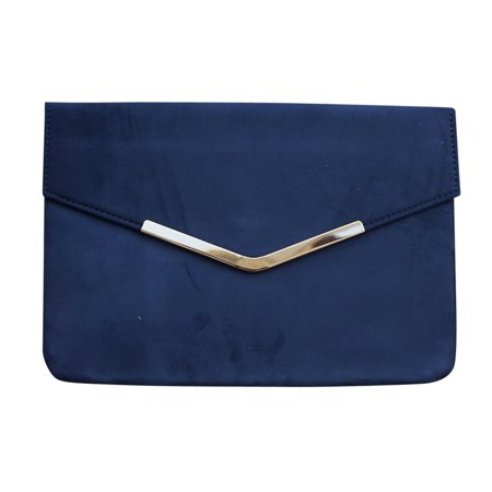 Chicastic Suede Envelope Clutch Purse - Navy Blue ()