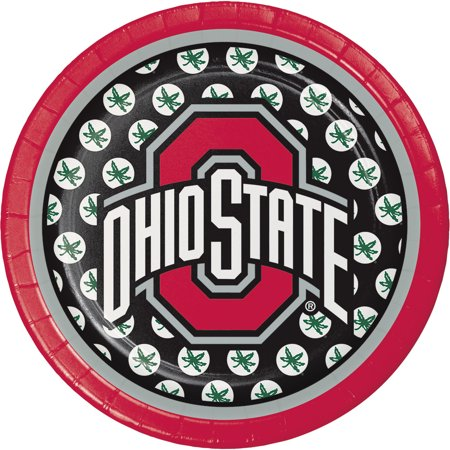 Club Pack of 96 Red and Black Ohio State University Disposable Luncheon Plates 7