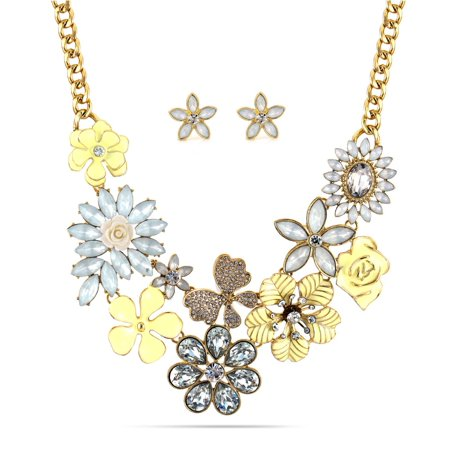 (TAZZA WOMEN'S GOLD FLOWER FLORAL CRYSTAL EARRINGS AND STATEMENT NECKLACE SET BEST FOR SPRING)