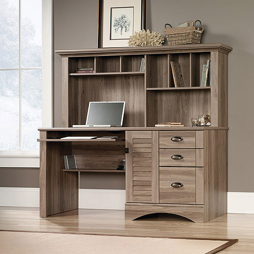Sauder Harbor View Computer Desk with Hutch Salt Oak Walmartcom