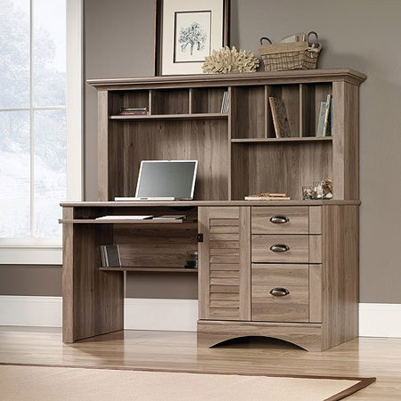 Sauder Harbor View Computer Desk with Hutch, Salt - Modern Desk Hutch