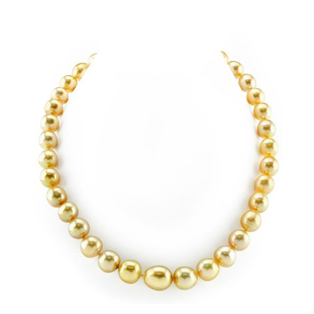 "14K Gold 10-13mm Golden South Sea Baroque Cultured Pearl Necklace - AAA Quality, 18"" Length"