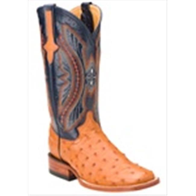 Ferrini 8019302070B Ladies Full Quill Ostrich Square Toe Boots Cognac 7B by