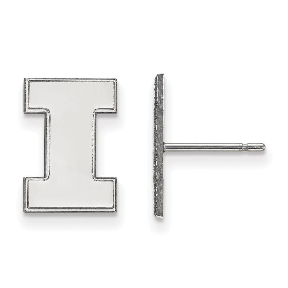 University Of Illinois Logo Stud Earrings In Rhodium Flashed Sterling Silver