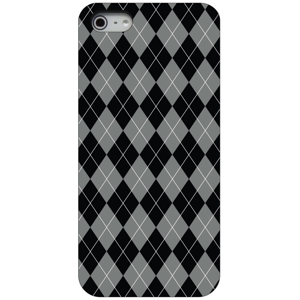 CUSTOM Black Hard Plastic Snap-On Case for Apple iPhone 5 / 5S / SE - Black Grey White Argyle