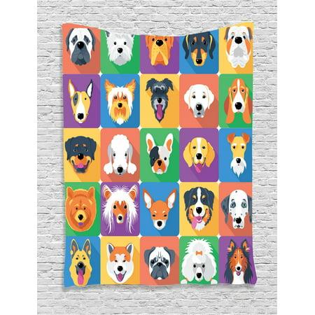 Dog Tapestry, Dog Breeds Profiles Pets Shepherd Terrier Labrador Domestic Animals Illustration, Wall Hanging for Bedroom Living Room Dorm Decor, Purple Green, by - Terrier Tapestry Wall Hanging