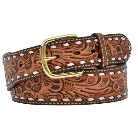 Natural Belting Leather (3d belt mens western buckstitch floral leather brass natural 3870 )