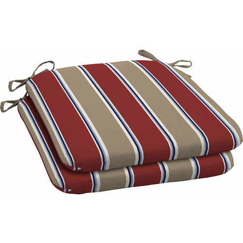 Better Homes and Gardens Outdoor Wrought Iron Seat Pads, Red Tan Stripe, Set of 2