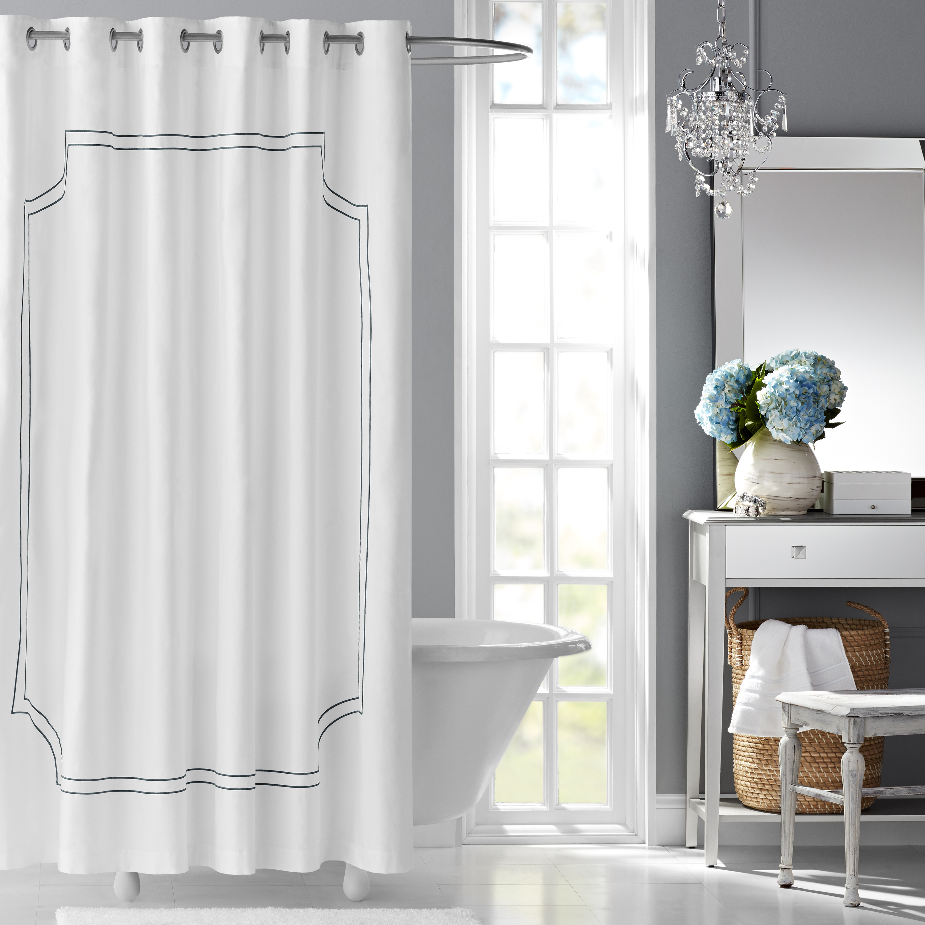 Hotel Style Florence Embroidered Fabric Shower Curtain