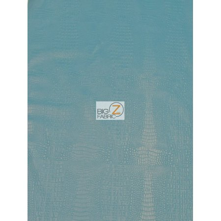Alligator Embossed Vinyl Faux Leather Pleather Fabric / Icy Turquoise / Sold By The Yard