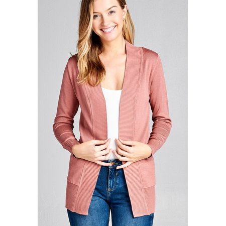 Women's Cardigan Long Sleeve Open Front Draped Sweater Rib Banded w/ Pockets in Several - Long Wool Blend Cardigan