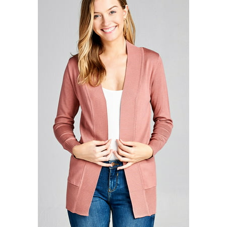 Wool Long Cardigan - Women's Cardigan Long Sleeve Open Front Draped Sweater Rib Banded w/ Pockets in Several Colors