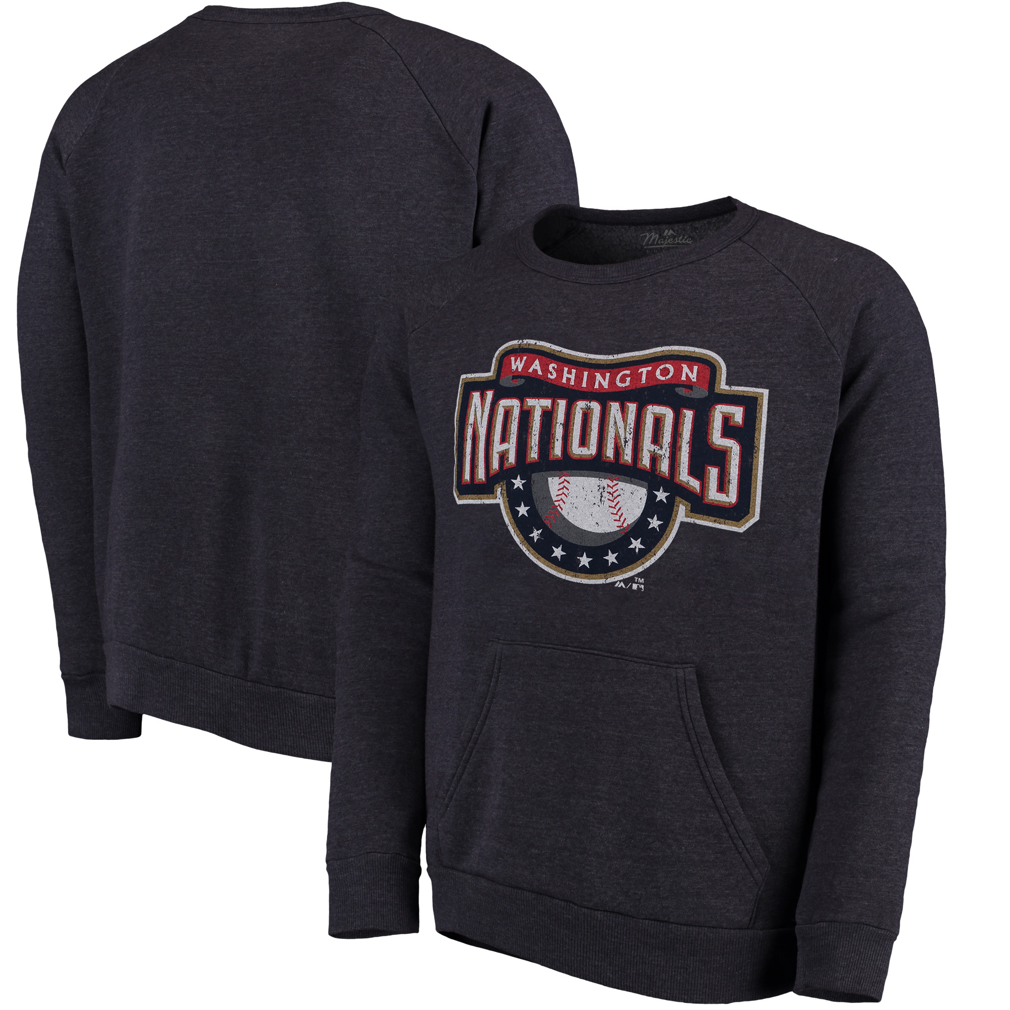 Washington Nationals Majestic Threads Cooperstown Collection Tri-Blend Pocket Fleece Sweatshirt - Navy