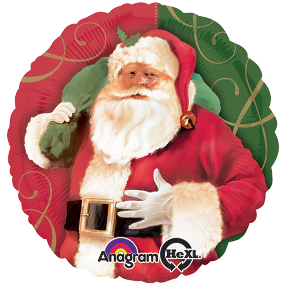 "Anagram Christmas Santa Claus Round 18"" Foil Balloon, Red Green"