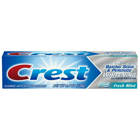 2 Pack - Crest Baking Soda & Peroxide Whitening with Tartar Protection Toothpaste, Fresh Mint 4.6