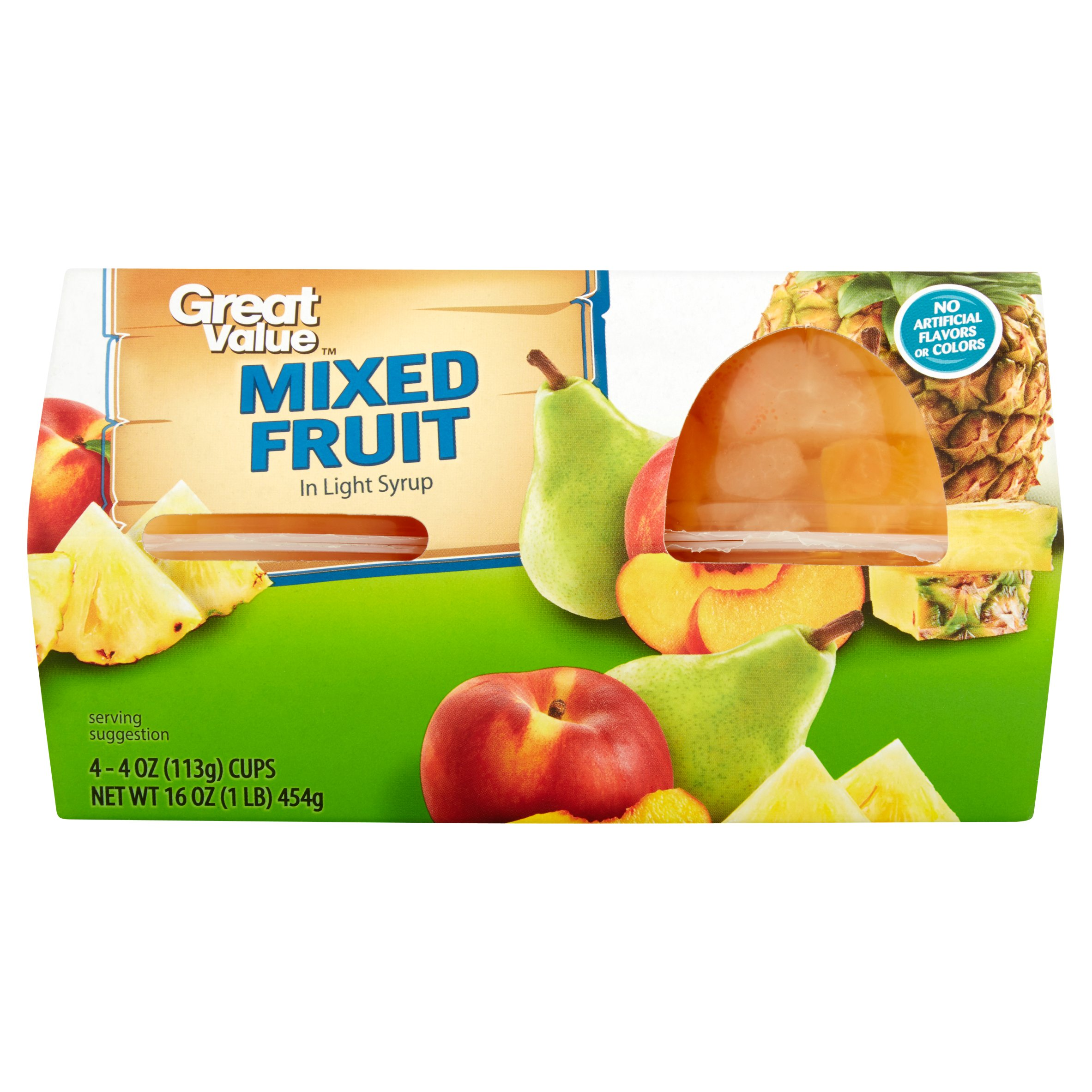 Great Value Mixed Fruit in Light Syrup, 4 oz, 4 Count - Walmart.com