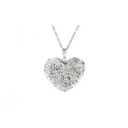 Sterling Silver Swarovski Elements Crystal Bubble Heart Pendant](Bubble Necklace)