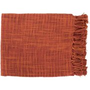 "49"" x 59"" Summertime Breeze Cinnamon and Burnt Orange Fringed Throw Blanket"